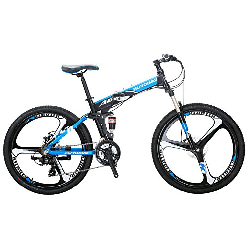 EUROBIKE-A6-Aluminum-Mountain-Bike-21-Speed-26-Inch-3-Spoke-Wheels-Dual-Suspension-Folding-Bike-Black-Blue-0