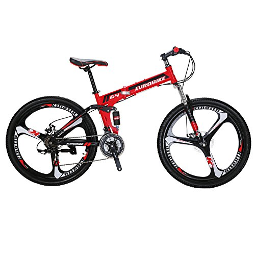 EUROBIKE-G4-Mountain-Bike-26-Inches-3-Spoke-Wheels-Dual-Suspension-Folding-Bike-21-Speed-MTB-Red-0