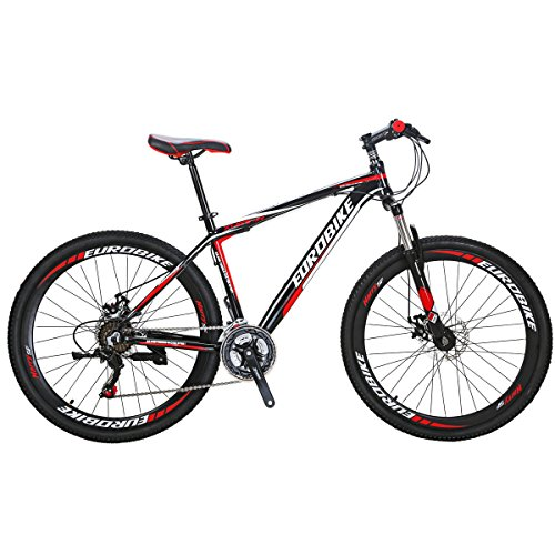 EUROBIKE-Mountain-Bike-GTR-275-21Speed-Dual-Disc-Brake-Aluminum-Bicycle-Black-red-0