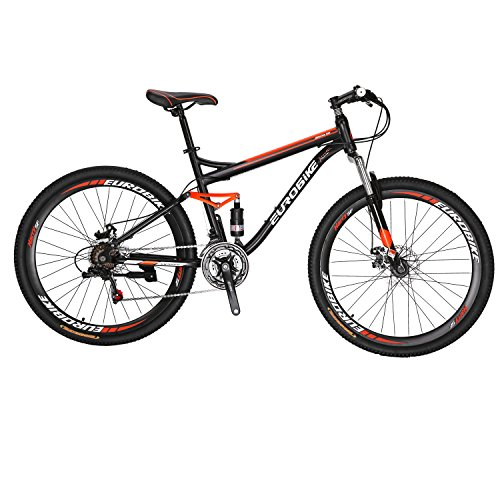 EUROBIKE-S7-Mountain-Bike-275-Inche-Wheels-Dual-Suspension-Mountain-Bicycle-21-Speed-MTB-Black-Orange-0