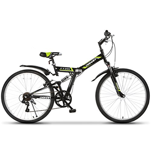 ORKAN-26-Folding-Mountain-Bike-Foldable-Hybrid-Bike-7-Speeds-Full-Suspension-Shimano-Black-Green-0