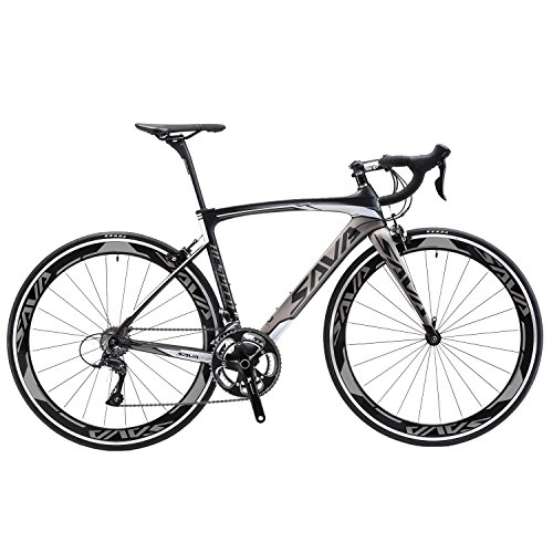 SAVADECK-700C-Road-Bike-T800-Carbon-Fiber-FrameForkSeat-post-with-SHIMANO-TIAGRA-4700-20-Speed-Derailleur-System-and-KENDA-23C-Tire-Grey52cm-0
