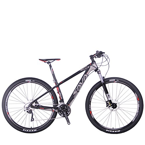 SAVADECK-DECK300-Carbon-Fiber-Mountain-Bike-2627529-Complete-Hard-Tail-MTB-Bicycle-30-Speed-SHIMANO-M610-DEORE-Group-Set-Grey29x17-0