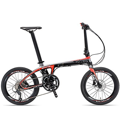 SAVADECK-Folding-Bike-20-inch-Carbon-Fiber-Folding-Bicycle-Portable-Folding-Bikes-Mini-City-22-Speed-Foldable-Bicycle-with-SHIMANO-105-and-Hydraulic-Disc-Brake-Black-Red-0