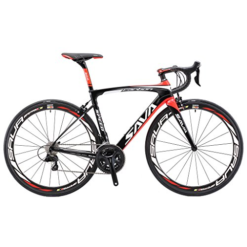 SAVADECK-HERD-60-T800-Carbon-Fiber-700C-Road-Bike-SHIMANO-105-5800-Groupset-22-Speed-Carbon-Wheelset-Seatpost-Fork-Ultra-light-183-lbs-Bicycle-Black-Red-50cm-0