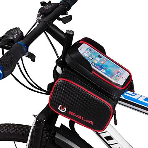 SAVADECK-Water-Resistant-Cycling-Frame-Bags-Head-Front-Top-Tube-Frame-Pannier-Bag-Double-Pouch-Phone-Storage-Bag-for-Cellphone-Below-60-inch-and-iPod-MP3-GPS-Holder-Red-0