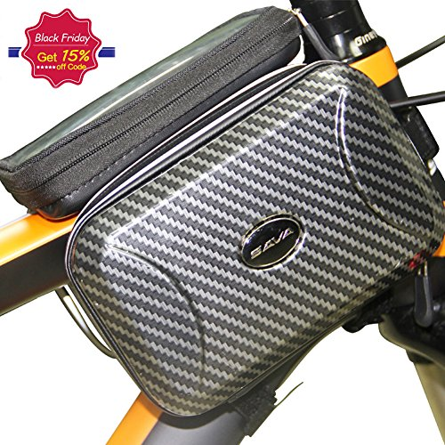 SAVADECK-Waterproof-Bike-Frame-Pannier-BagCycling-Head-Front-Top-Tube-Frame-Storage-Bag-Cycling-Bicycle-Double-Pouch-Holder-for-iPhone-76s-Plus-Samsung-Galaxy-Note-and-Other-Cellphone-Below-55-inch-0