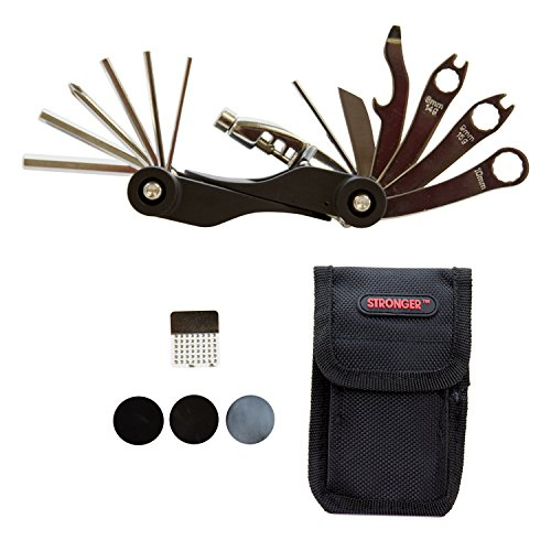Strongrr-Multi-Bike-Bicycle-Tools-20-Functions-for-Huffy-Bicycles-26353-Tundra-Mountain-Bike-Womens-Teal-26-In-with-Tire-Patch-Nylon-Bag-Bicycle-Cycling-Maintenance-Repair-Tool-Kit-0