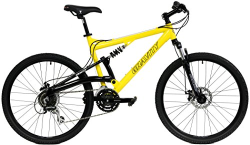 2018-Gravity-FSX-10-Dual-Full-Suspension-Mountain-Bike-with-Disc-Brakes-Shimano-Shifting-Aluminum-Frame-Yellow-21in-0