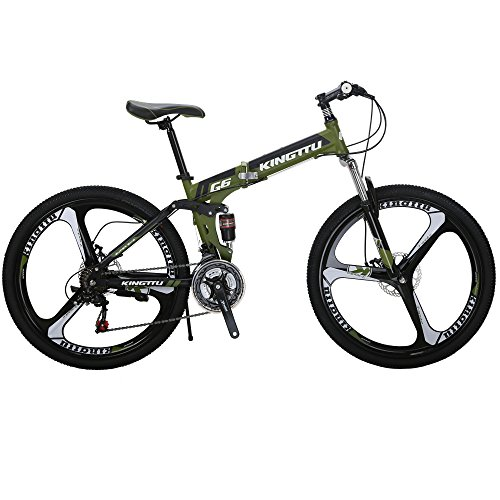 Kingttu-EURG6-Mountain-Bike-26-Inches-3-Spoke-Wheels-Dual-Suspension-Folding-Bike-21-Speed-MTB-Bicycle-Army-Green-0