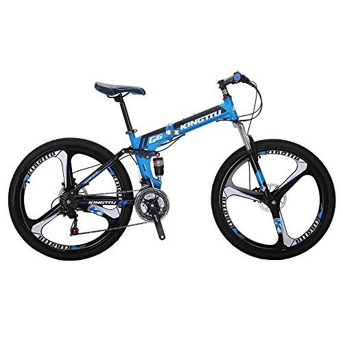 Kingttu-EURG6-Mountain-Bike-26-Inches-3-Spoke-Wheels-Dual-Suspension-Folding-Bike-21-Speed-MTB-Bicycle-Blue-2018-0