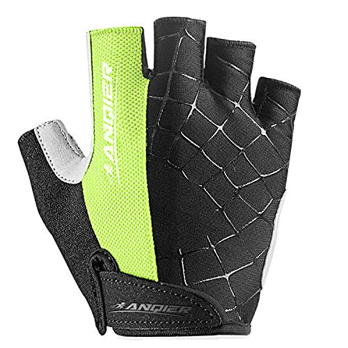 Lanyi-Cycling-Gloves-Bike-Gloves-Mens-Womens-Shock-Absorbing-Pad-Anti-Slip-Half-Finger-Weight-Lifting-Gloves-Biking-Gloves-Workout-Gloves-Mountain-Climbing-Bicycle-Exercise-Gloves-GreenL-0-0