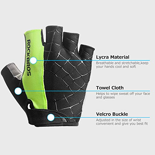 Lanyi-Cycling-Gloves-Bike-Gloves-Mens-Womens-Shock-Absorbing-Pad-Anti-Slip-Half-Finger-Weight-Lifting-Gloves-Biking-Gloves-Workout-Gloves-Mountain-Climbing-Bicycle-Exercise-Gloves-GreenL-0-1