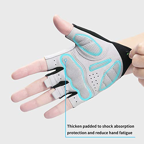 Lanyi-Cycling-Gloves-Bike-Gloves-Mens-Womens-Shock-Absorbing-Pad-Anti-Slip-Half-Finger-Weight-Lifting-Gloves-Biking-Gloves-Workout-Gloves-Mountain-Climbing-Bicycle-Exercise-Gloves-GreenL-0-2