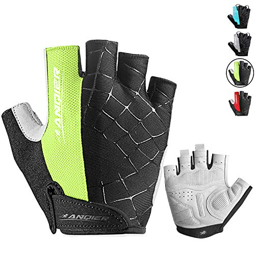Lanyi-Cycling-Gloves-Bike-Gloves-Mens-Womens-Shock-Absorbing-Pad-Anti-Slip-Half-Finger-Weight-Lifting-Gloves-Biking-Gloves-Workout-Gloves-Mountain-Climbing-Bicycle-Exercise-Gloves-GreenL-0