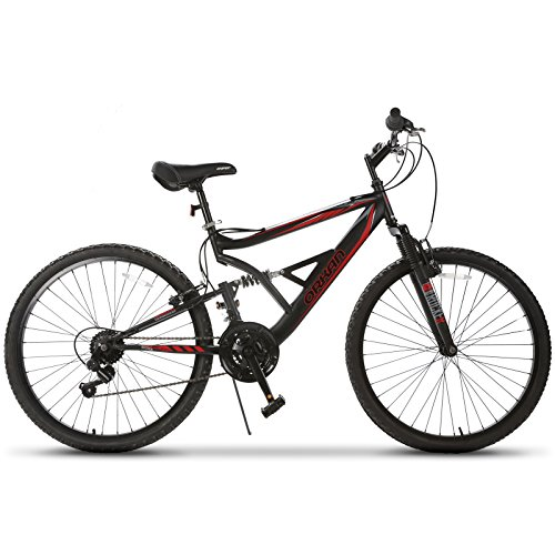 Murtisol-Mountain-Bike-26-Hybrid-Bike-with-FrontFull-Suspension18-Speeds-Derailleur-Designed-Heavy-Duty-Kickstand-Adjustable-Seat-Black-Red-0