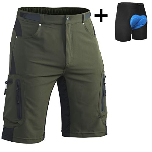 Ally-Mens-MTB-Mountain-Bike-Short-Bicycle-Cycling-Biking-Riding-Shorts-Cycle-Wear-Relaxed-Loose-fit-Green-2XLWaist345-36-Hip405-425-0