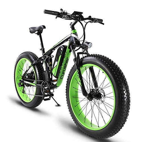 Cyrusher-XF800-Fat-Tire-Electric-Bike-1000W-48V-Mens-Mountain-Bike-Snow-Ebike-26inch-Bicycle-Full-Suspension-Fork-Hydraulic-Brakes-0