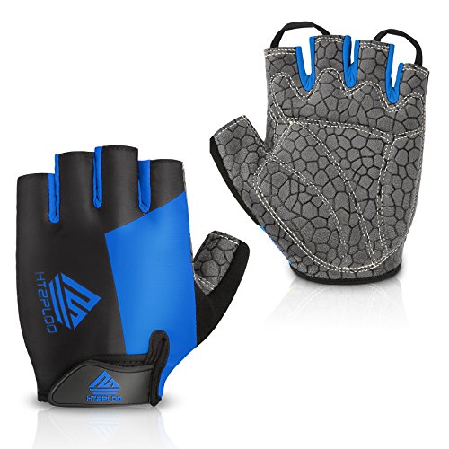 HTZPLOO-Bike-Gloves-Bicycle-Gloves-Cycling-Gloves-Mountain-Biking-Gloves-with-Anti-Slip-Shock-Absorbing-Pad-Breathable-Half-Finger-Outdoor-Sports-Gloves-for-MenWomen-BlackBlue-Large-0