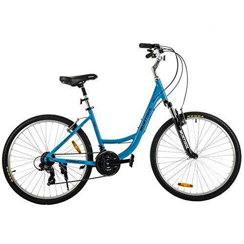 Murtisol-Aluminum-Comfort-Bike-26-Commuter-Bike-Mountain-Bike-Hybrid-Bike-for-Men-Women-21-Speeds-Derailleur-Front-Seat-Suspension-Adjustable-Seat-HandlebarBlue-0
