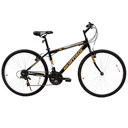 Murtisol-Commuter-Mountain-Bike-Hybrid-Bicycle-26-inches-Aluminum-Road-Bike-with-18-Speed-DerailleurSolid-FrameAdjustable-SeatQuick-Release-RacingOrange-Black-0