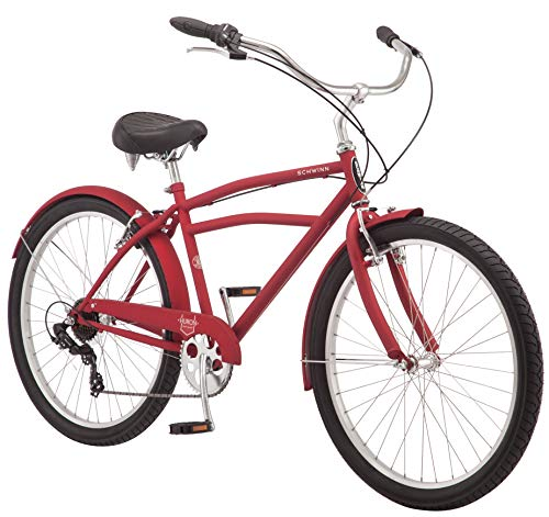 Schwinn-Huron-Mens-Cruiser-Bike-Featuring-17-InchMedium-Steel-Frame-Seven-Speed-Drivetrain-Full-Front-and-Rear-Fenders-and-26-Inch-Wheels-Red-0