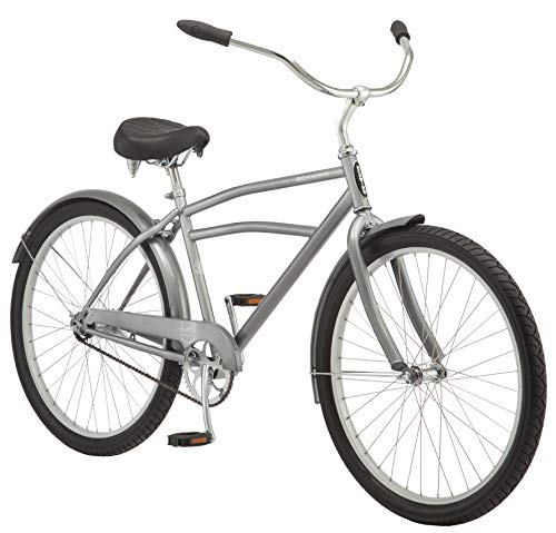 Schwinn-Huron-Mens-Cruiser-Bike-Featuring-17-InchMedium-Steel-Frame-Single-Speed-Drivetrain-Full-Front-and-Rear-Fenders-and-26-Inch-Wheels-Grey-0