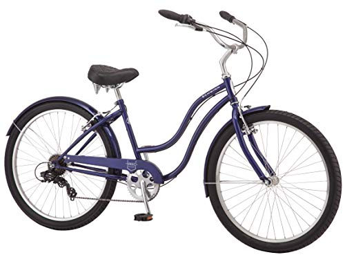 Schwinn-Mikko-Womens-Cruiser-Bike-Featuring-17-InchMedium-Steel-Frame-Seven-Speed-Drivetrain-Full-Front-and-Rear-Fenders-and-26-Inch-Wheels-Navy-0-0