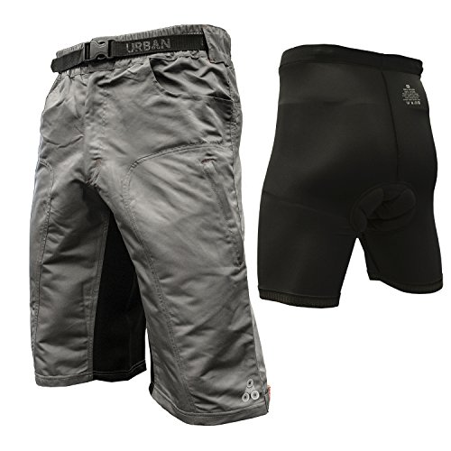 The-Enduro-Mens-MTB-Off-Road-Cycling-Shorts-with-ClickFast-Padded-Undershorts-with-Coolmax-Technology-Small-Grey-0