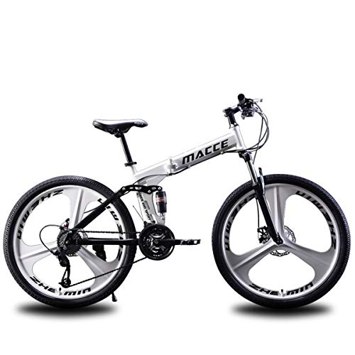 Dapang-Folding-Mountain-Bike-2426-inch-Steel-Frame-21-Speed-Shimano-fire-Gear-shifters-Shimano-Tourney-Rear-derailleurWhite26-0
