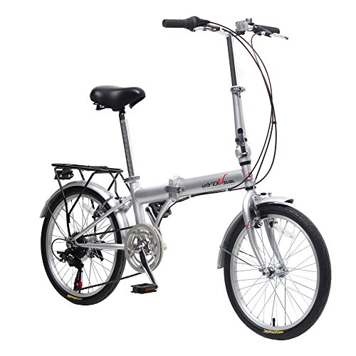 EBS-Folding-Bicycle-City-Bike-Shimano-Gear-6-Speed-Compact-Foldable-Commute-Bike-Wanda-Tire-Silver-0