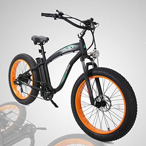 ECOTRIC-Fat-Tire-Electric-Bike-Beach-Snow-Bicycle-40-inch-Fat-Tire-26-1000W-48V-13Ah-ebike-Electric-Mountain-Bicycle-with-Shimano-7-Speeds-Black-Lithium-Battery-Electric-Mountain-Bicycle-Orange-0-0