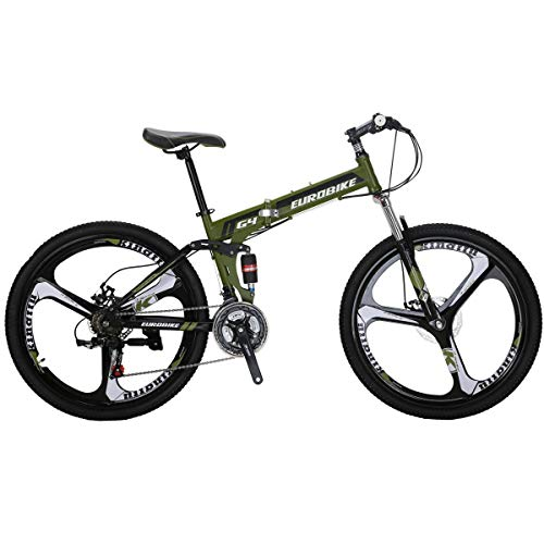 Eurobike-EURG4-Mountain-Bike-26-Inches-3-Spoke-Dual-Suspension-Folding-Bike-21-Speed-MTB-Army-Green-0