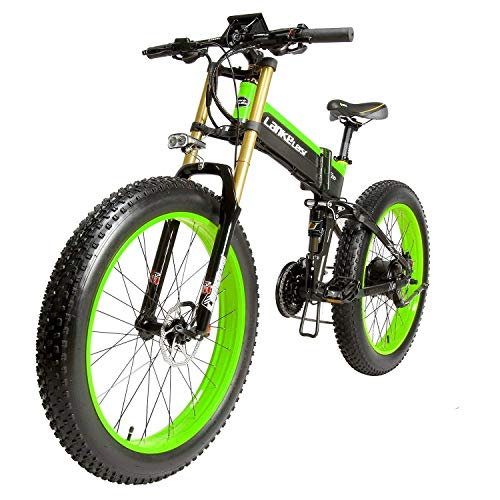 LANKELEISI-26-Fat-Tire-Folding-Electric-Bicycle-Shimano-27-Speed-48V-Snow-Mountain-Beach-E-Bike-35in-LCD-Speedometer-Dual-Hydraulic-Disc-Brake-Green-14A-1000W-0
