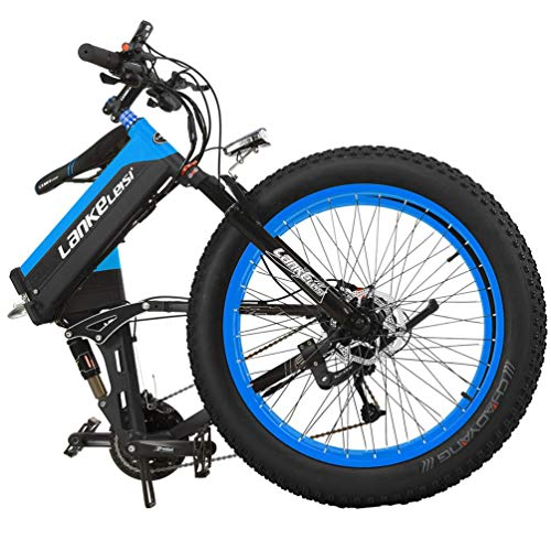 LANKELEISI-T750PLUS-26-Fat-Wheel-Folding-Electric-Bicycle-48V-10Ah-Shimano-27-Speed-Full-Suspension-Snow-Mountain-MTB-E-BikeDual-Hydraulic-Disc-Brake-Blue-500W-0-0