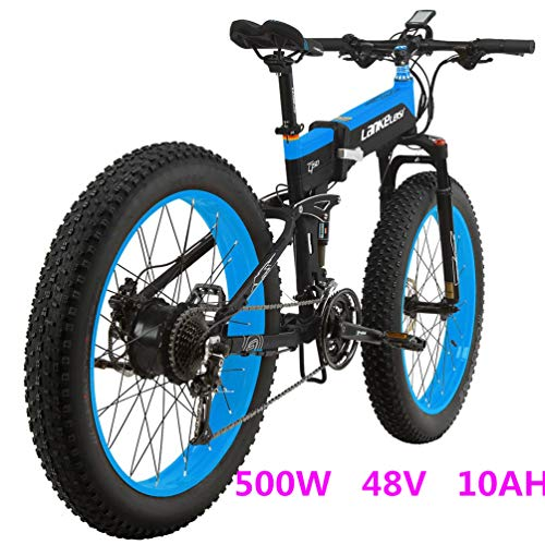 LANKELEISI-T750PLUS-26-Fat-Wheel-Folding-Electric-Bicycle-48V-10Ah-Shimano-27-Speed-Full-Suspension-Snow-Mountain-MTB-E-BikeDual-Hydraulic-Disc-Brake-Blue-500W-0