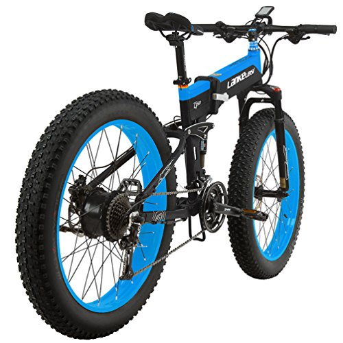 LANKELEISI-T750PLUS-26-Fat-Wheel-Folding-Electric-Bicycle-48V-14Ah-Shimano-27-Speed-Full-Suspension-Snow-Mountain-MTB-E-BikeDual-Hydraulic-Disc-Brake-Blue-1000W-0