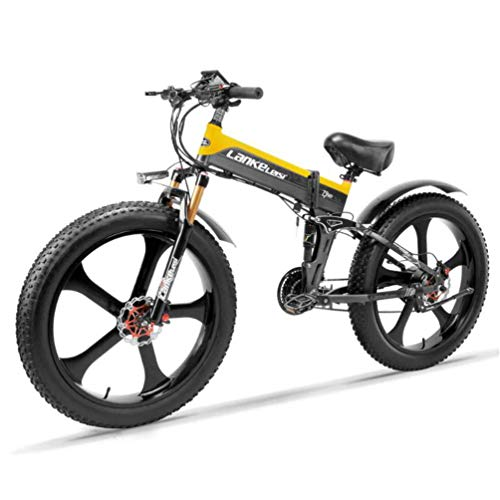 LANKELEISI-TT750PLUS-26-Inch-Large-Folding-Tyre-Snow-Mountain-Electric-Bike-Beach-48V10Ah-Shimano-27-Speeds-Full-Suspension-500W-Motor-Double-Hydraulic-Disc-Brake-Yellow-0