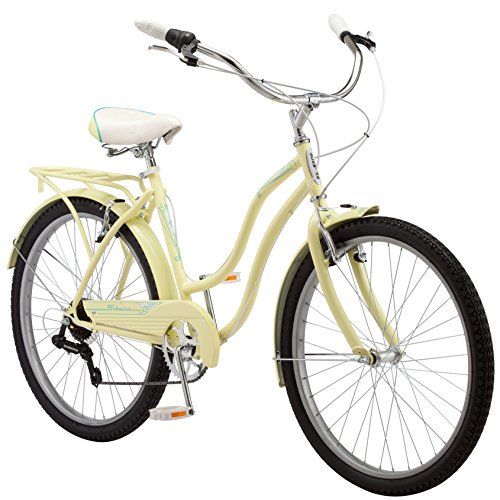 Schwinn-Perla-Womens-Cruiser-Bicycle-Featuring-18-Inch-Step-Through-Steel-Frame-and-7-Speed-Drivetrain-with-Front-and-Rear-Fenders-Rear-Rack-and-26-Inch-Wheels-Yellow-0