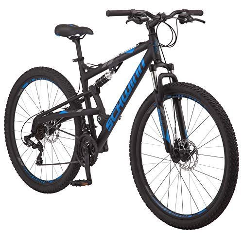 Schwinn-S29-Dual-Suspension-Mountain-Bike-Featuring-20-InchLarge-Aluminum-Frame-29-Inch-Wheels-with-Mechanical-Disc-Brakes-21-Speed-Shimano-Drivetrain-Matte-Black-0