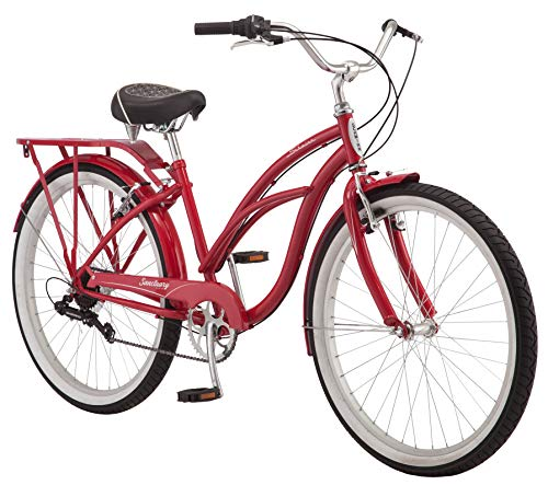 Schwinn-Sanctuary-7-Comfort-Cruiser-Bike-Featuring-Retro-Styled-16-InchSmall-Steel-Step-Through-Frame-and-7-Speed-Drivetrain-with-Front-and-Rear-Fenders-Rear-Rack-and-26-Inch-Wheels-Red-0