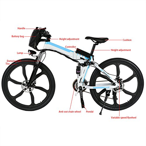 Yiilove-Electric-Mountain-Bike-26-Wheel-Ebike-36V-Lithium-Ion-Battery-Electric-Bicycle-250W-Powerful-Motor-Shimano-21-Speed-Type2-26-Foldable-White-0-0