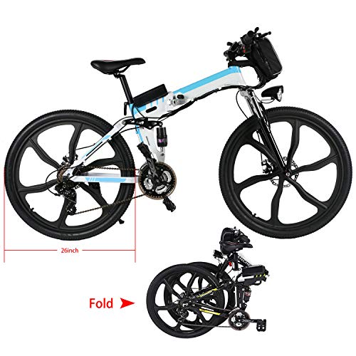 Yiilove-Electric-Mountain-Bike-26-Wheel-Ebike-36V-Lithium-Ion-Battery-Electric-Bicycle-250W-Powerful-Motor-Shimano-21-Speed-Type2-26-Foldable-White-0-1