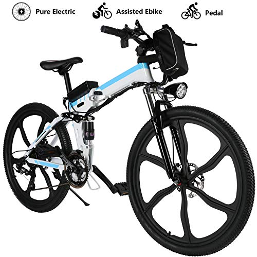 Yiilove-Electric-Mountain-Bike-26-Wheel-Ebike-36V-Lithium-Ion-Battery-Electric-Bicycle-250W-Powerful-Motor-Shimano-21-Speed-Type2-26-Foldable-White-0
