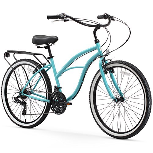 sixthreezero-Around-The-Block-Womens-21-Speed-Cruiser-Bicycle-Teal-Blue-w-Black-SeatGrips-26-Wheels17-Frame-0