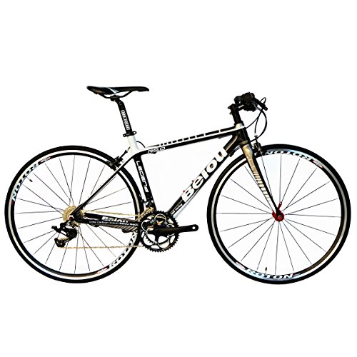 BEIOU-2016-Carbon-Comfortable-Bicycles-700C-Road-Bike-LTWOO-210-Speed-SRAM-Brake-Complete-183-lb-Hybrid-Bike-Toray-T800-Fiber-CB0012B-White-Gold-500mm-0