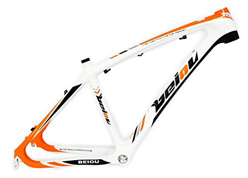 BEIOU-3k-Carbon-Fiber-Mountain-Bike-Frame-26-Inch-Glossy-Unibody-External-Cable-Routing-T700-Ultralight-MTB-White-Orange-B005X15-Inch-0