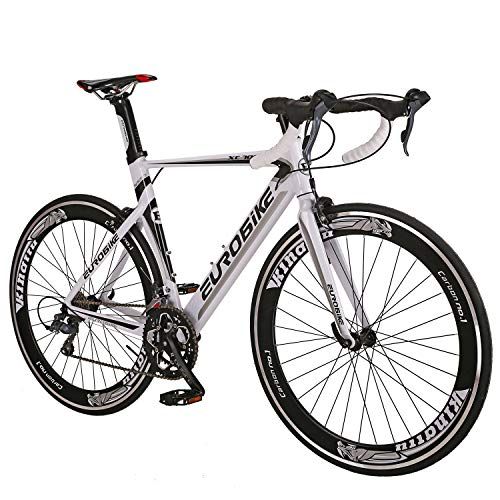 Eurobike-Aluminium-Road-Bike-Frame-700C-Wheels-Commuter-Cycling-Bicycle-14-Speed-White-0