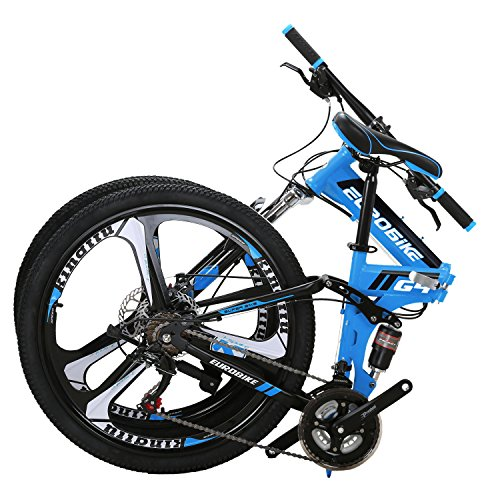 Eurobike-EURG4-Mountain-Bike-26-Inches-3-Spoke-Dual-Suspension-Folding-Bike-21-Speed-MTB-Blue-0