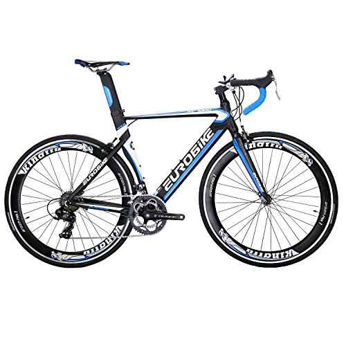 Eurobike-XC7000-Road-Bike-54-cm-Light-Aluminum-Frame-14-Speed-700C-Road-Bicycle-Blue-0